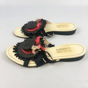 VTG 60s Novelty Sun Hat Shoes Derby Day Slides